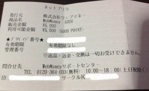 ウェブマネー5000円分
